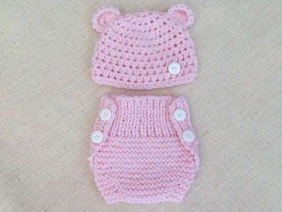 Ensemble Bebe Bonnet Et Cache Couche Tricot Laine Layette Cadeau Naissance Bear Hat Crochet Hats Special Baby