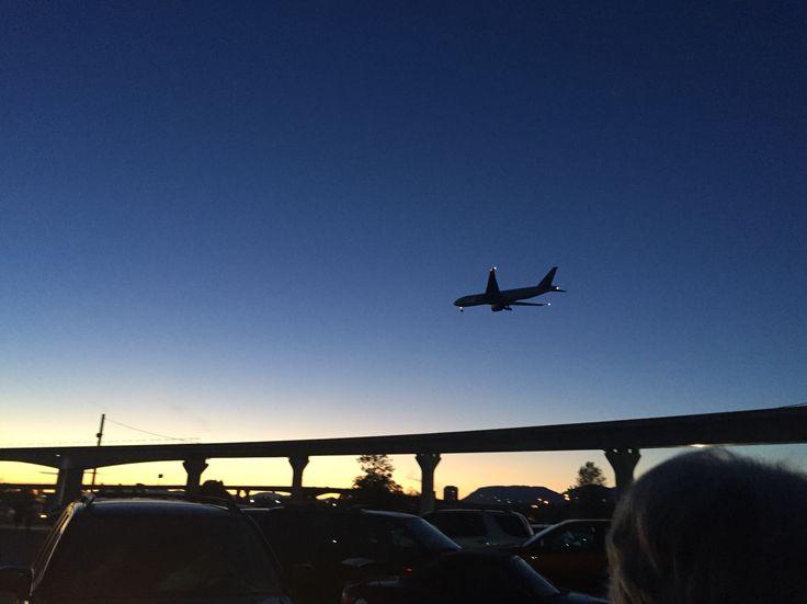 Flight over Richmond at sunset