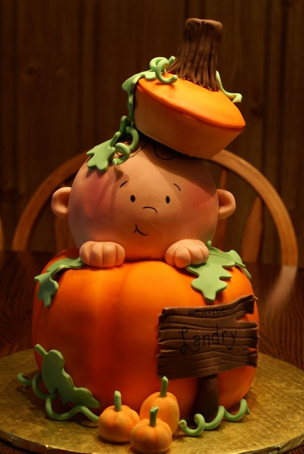 .: Shower Ideas, Baby Shower Cakes, Pumpkin Cakes, Fall Cakes, Pumpkins, Fall Baby Showers, Halloween Cakes, Baby Cakes, Baby Shower