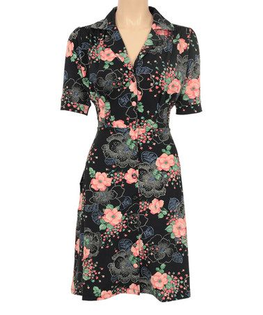 Another great find on #zulily! Black & Pink Floral Shirt Dress by Louie et Lucie #zulilyfinds