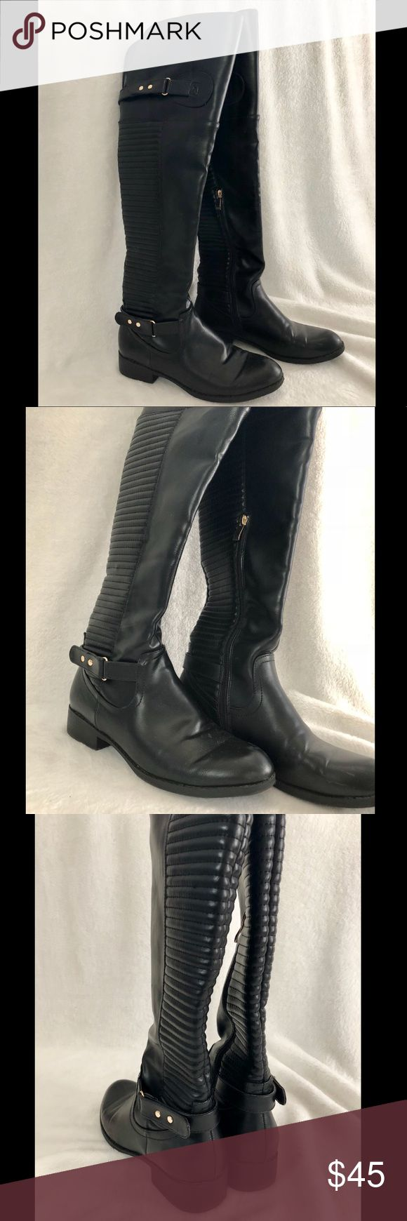 Black over the knee boots Black over the knee boots. Worn 2 times at most. I'm 5'1 for reference! Same pair in cognac also for sale! Offers always welcome. *If the listing is up, is IS still available!* Shoes Over the Knee Boots