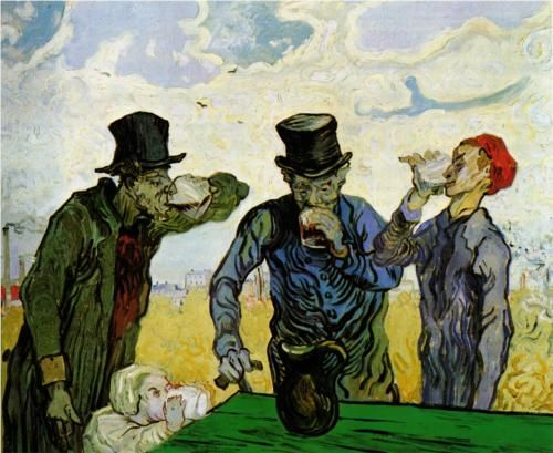 The Drinkers (after Daumier) - Vincent van Gogh: Vincent Of Onofrio, 1853 1890, Drinker, Vincent Vans Gogh, Vincentvangogh, Daumier, Vincent Van Gogh, Paintings, Art Institut