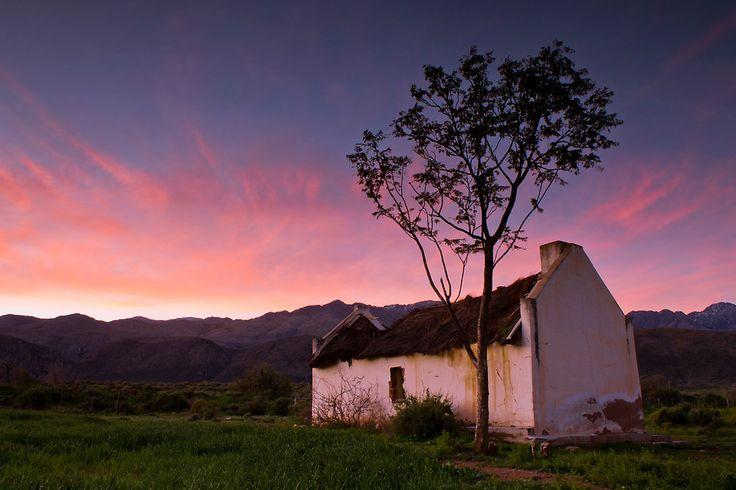 Deserted farmhouse at sunset in the #Karoo