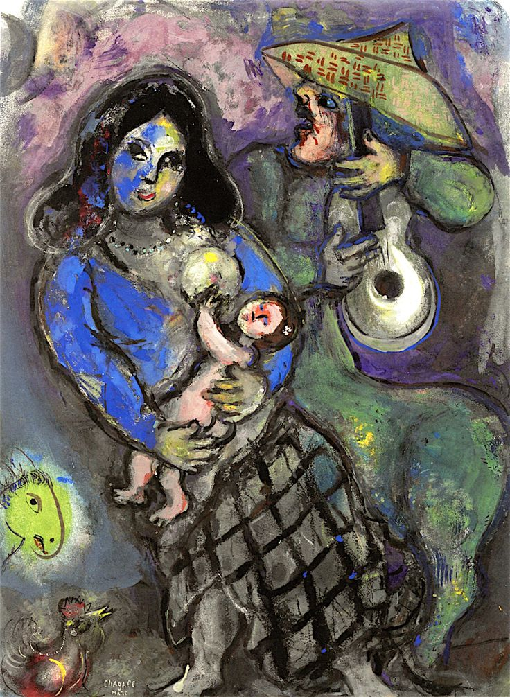 """dappledwithshadow: """" Mexican Motherhood Marc Chagall circa 1943 Private collection Painting - gouache Height: 67.6 cm (26.61 in.), Width: 50 cm (19.69 in.) """""""