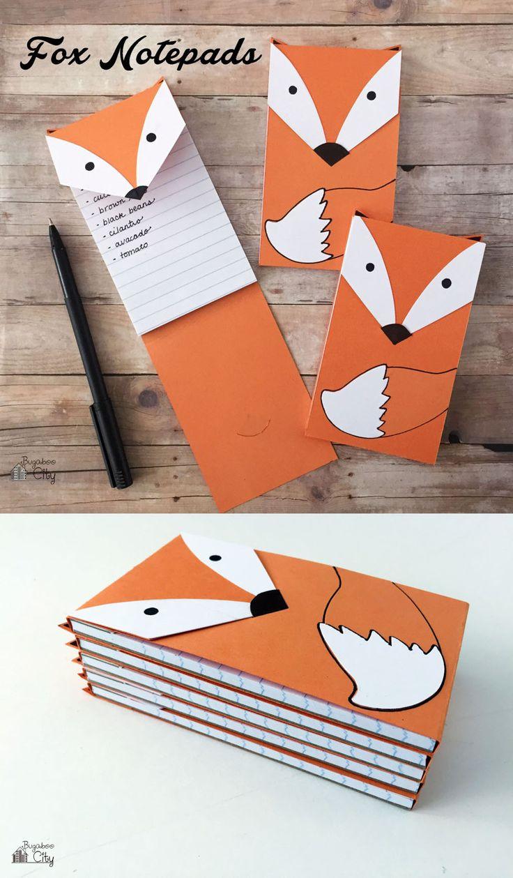 DIY Fox Notepad   Gifts, DIY and crafts and Fun