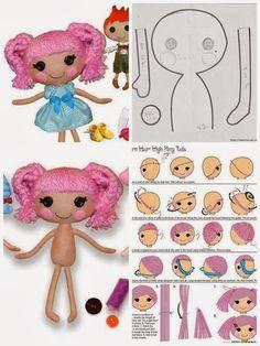 ARTE COM QUIANE - Paps,Moldes,E.V.A,Feltro,Costuras,Fofuchas 3D: molde boneca lalaloopsy