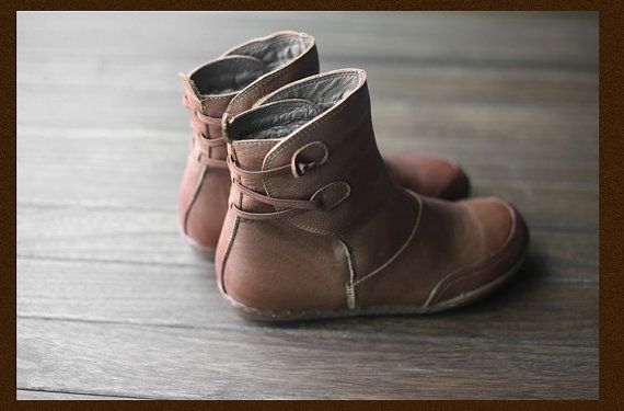 Handmade Leather Ankle Boots Women Warm Shoes HZSW003