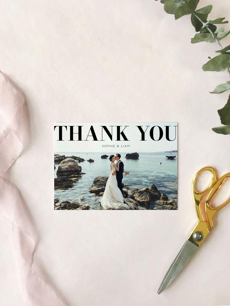 modern wedding photo thank you card editable template