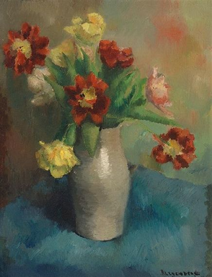 FLOWERS IN AN EARTHENWARE VASE By Karel Bleijenberg Artwork Description Dimensions: 51 x 39 cm Medium: Oil on canvas Signed