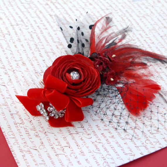 red and black hair accessory, red rockabilly wedding headpiece, rockabilly flower feather hair comb, burlesque hair accessory