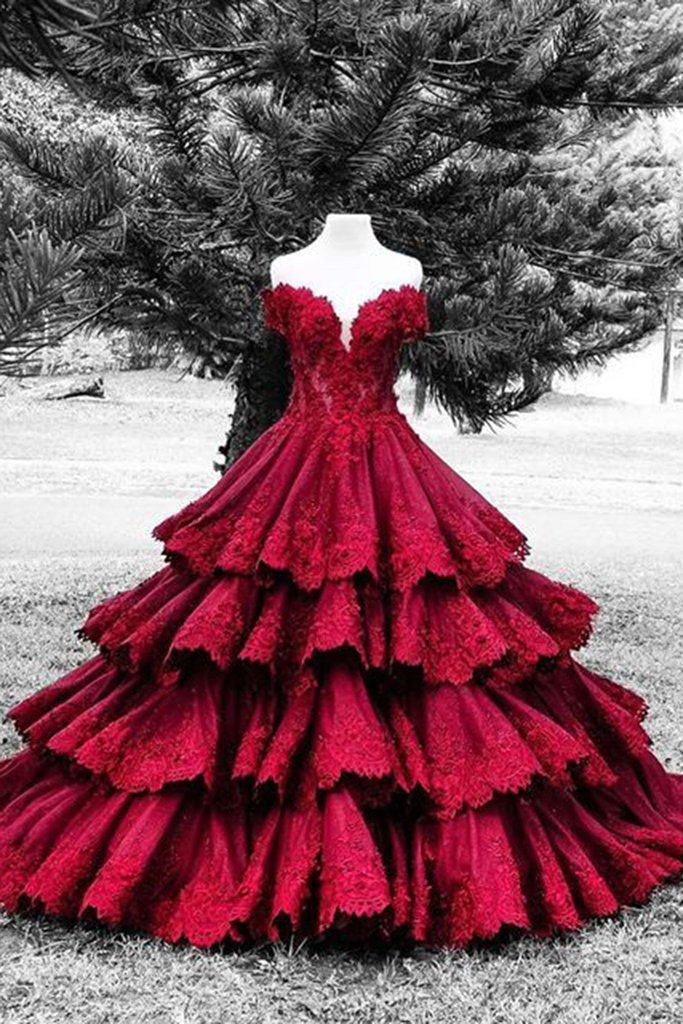 Lace prom dress, ball gowns wedding dress
