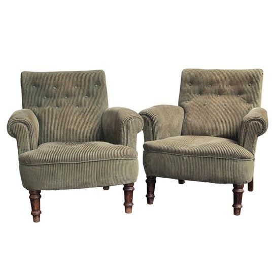 Pair Of Large Scale 19th Century English Armchairs  Traditional, Victorian, Upholstery  Fabric, Wood, Armchairs  Club Chair by Steven Sclaroff