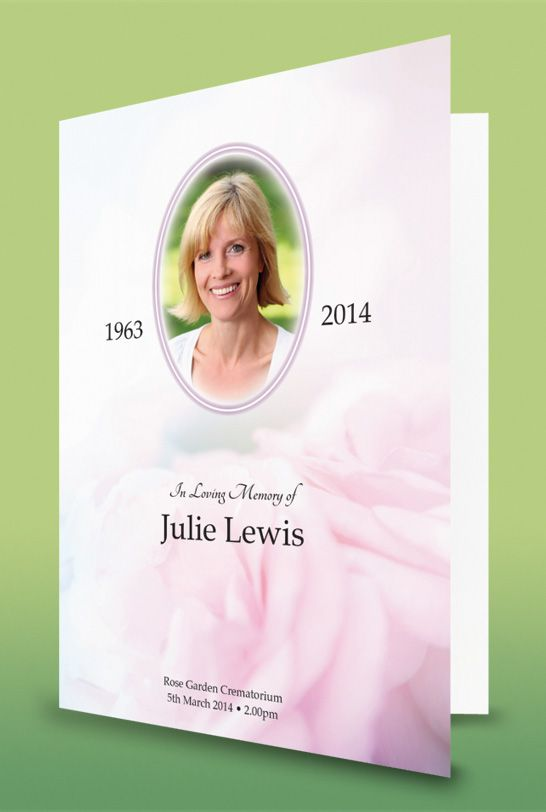 Funeral order of service with a pink rose design