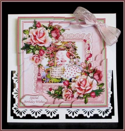 BIRTHDAY WISHING WELL Floral Corner Stacker on Craftsuprint designed by Janet Briggs - made by Rae Trees - I printed the design on good quality matte photo paper and attached the base to a white card. I assembled the elements with foam pads and added one of the sentiments and a bow. Beautiful design, lovely and feminine. - Now available for download!