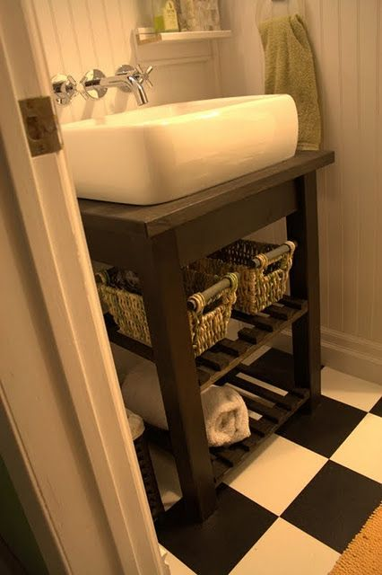 Cute IKEA hack using the Bekvam Kitchen Cart Vanity $59 paired with an Ann sink for $160 its a pretty cheap redo for about $200
