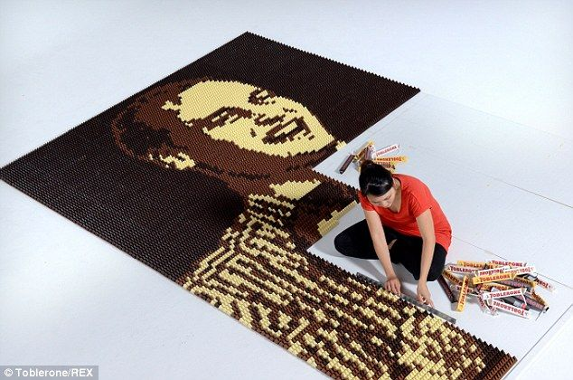 The portrait was made using a whopping 16,074 individual Toblerone chocolate triangles