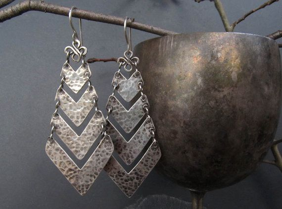 Chevron Earrings Sterling Silver Chandelier Handmade Rustic Elegance OOAK ––––––––––––––––––––––––––––––––––––––––––––––––––––––––––––––––––––-– Rustic elegance in a pair of handmade sterling silver chevron chandelier earrings.. Hand cut from sterling silver sheet, the chevrons were