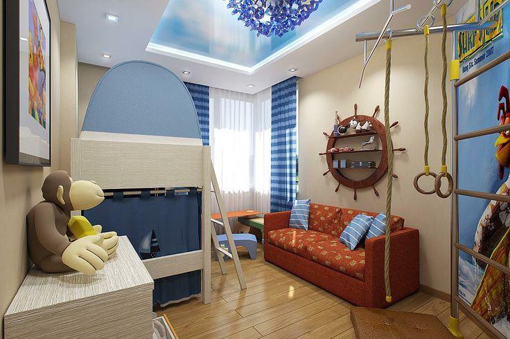 Комната для мальчика со штурвалом и двухъярусной кроватью