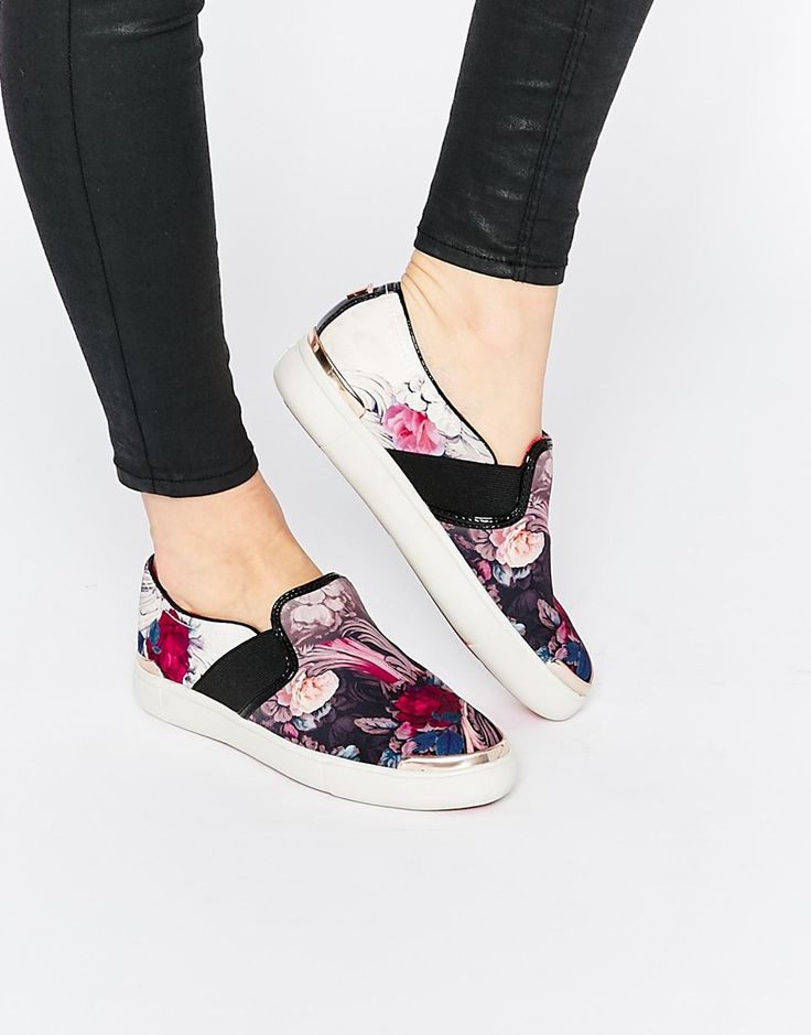 Image 1 of Ted Baker Laulei Floral Print Slip On Sneakers