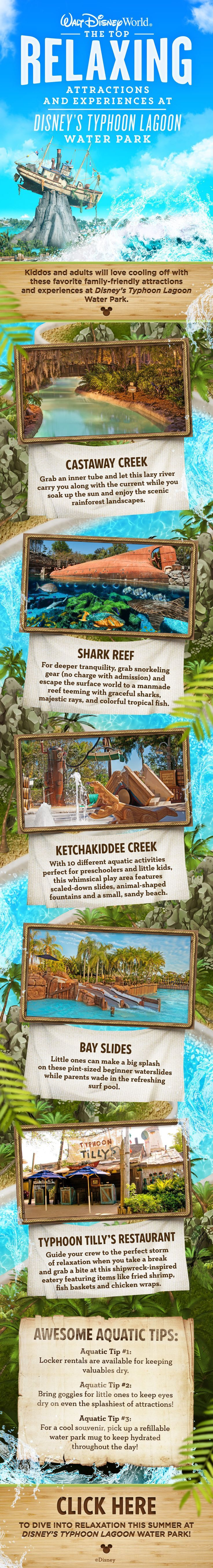You entire family will love cooling off with these family-friendly attractions at Disney's Typhoon Lagoon Water Park at Walt Disney World! Also, check out a few tips for making the most of your water park experience during your vacation!