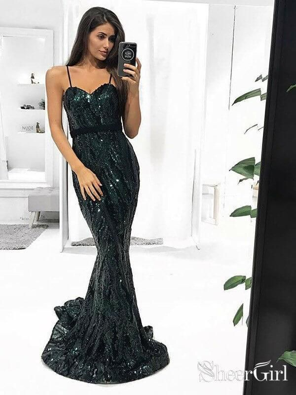 d8834859bf Spaghetti Strap Dark Green Sequin Mermaid Prom Dresses Long ARD1871- SheerGirl