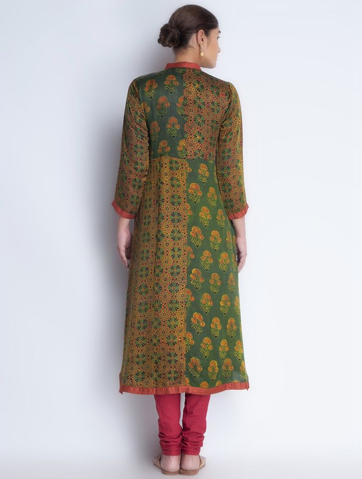 Buy Green Button Down Vegetable Printed Gajji Silk Kurta Apparel Tunics & Kurtas Ajrakh Trails Dyed Online at Jaypore.com