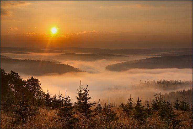 Erzgebirge Herbst Landschaft Morgen Nebel Sonnenaufgang