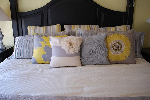 Loving the gray and yellow in Master Bedrooms!