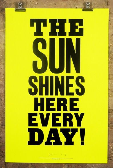 Nelly Duff Print from Anthony Burrill 'The Sun Shines' £40. Graphic print for kids room. Letter press.