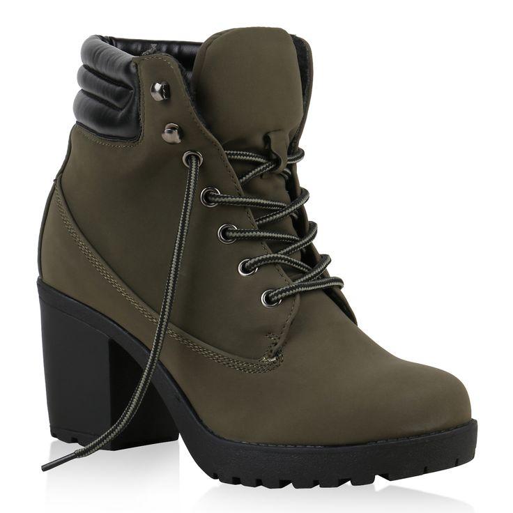 Details zu Damen Worker Boots Profil Sohle Block Absatz Stiefeletten 811964 Schuhe