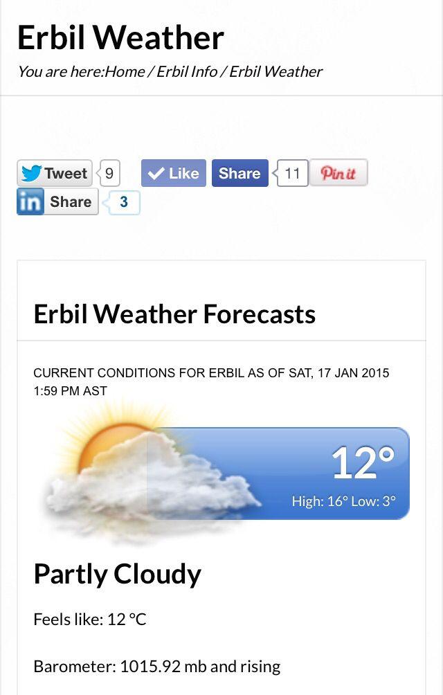 "Check #Erbil #LIVE #weather updates on www.erbilia.com 1- Go to erbilia.com 2- Navigate to <<<Erbil Info>>> 3- Scroll down to ""Weather in Erbil"" ------------------------------------------------- #kurdistan #erbilia #nature #erbilweather #travel #tourism #kurdo #kurdi #kurde #kurds #kurdim #Kurdish #kurdstan #kurdishboy #kurdishgirl #instakurd #instakurds #hawler #duhok #slemani #thingstodoinerbil #amazing #arbil"