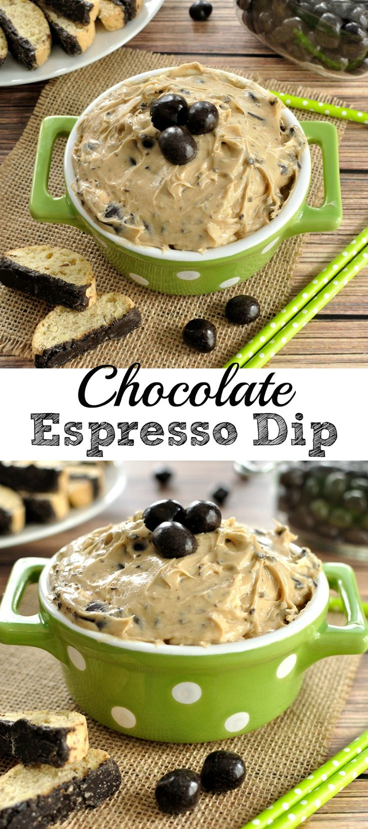 5 ingredient chocolate espresso dip! Easy dip recipe makes a great appetizer or dessert for a brunch or party.