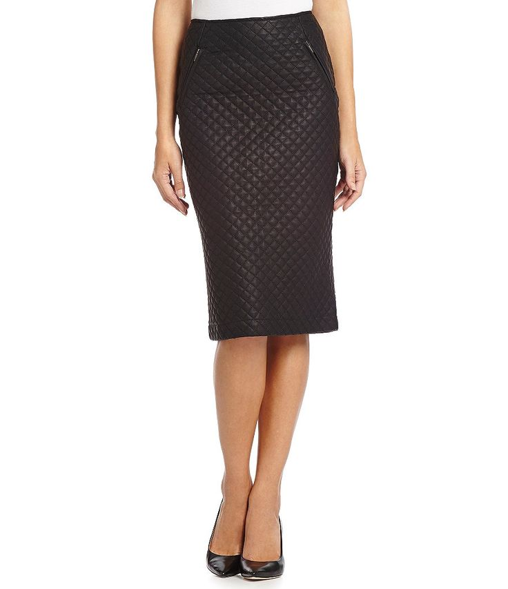 Kut from the Kloth Marcelle Faux-Leather Quilted Skirt