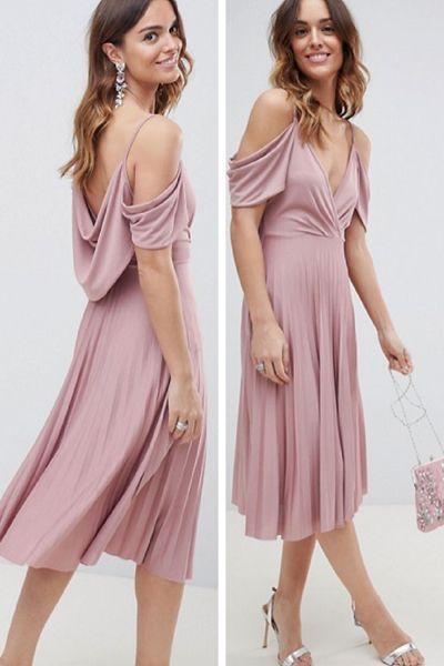 Cold Shoulder August Wedding Guest Dress In Pale Pink Midi Dress
