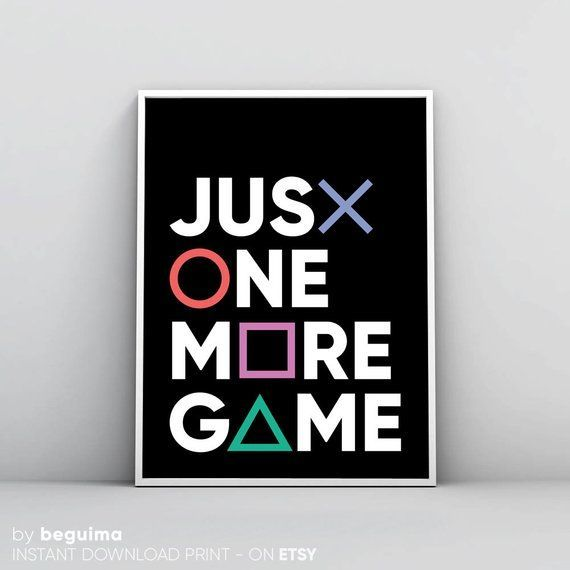 Gaming Print, Geek Wall Art, Playstation Art, Just One More Game, Gamepad Contro… #Zocken