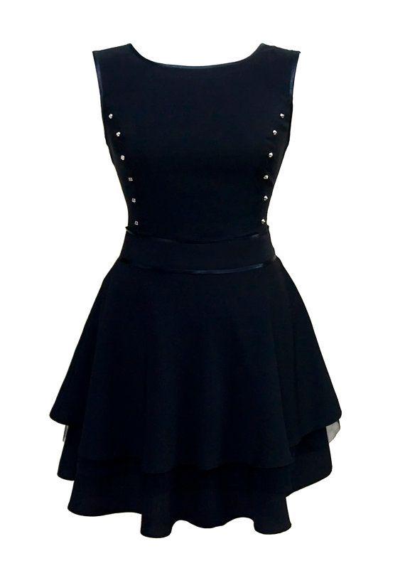 Flared Black Mini Skirt Dress For Teens With Stud by JERSA Dress