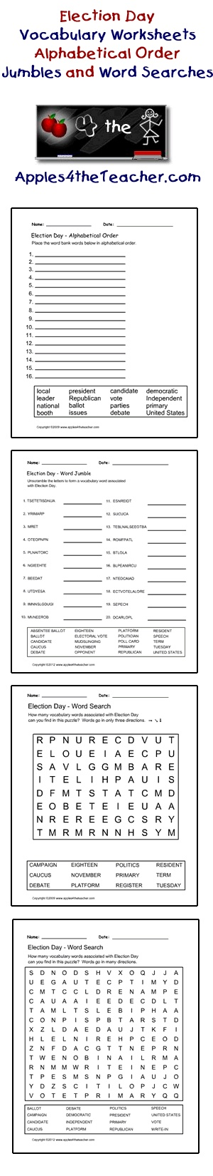 Election Day interactive worksheets, alphabetical order worksheets, word jumble worksheets, word search worksheets.