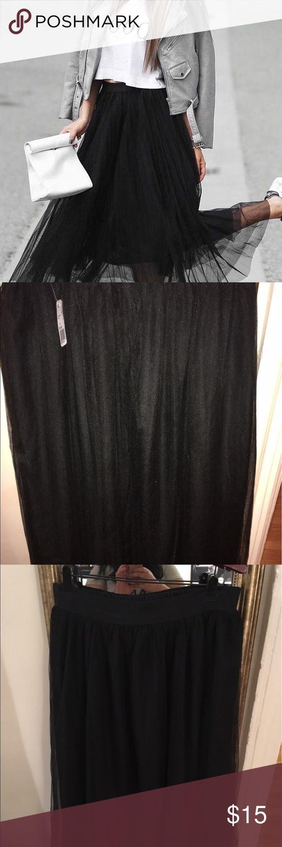 Forever 21 Black Tulle Skirt Long black tulle skirt Forever 21 Skirts