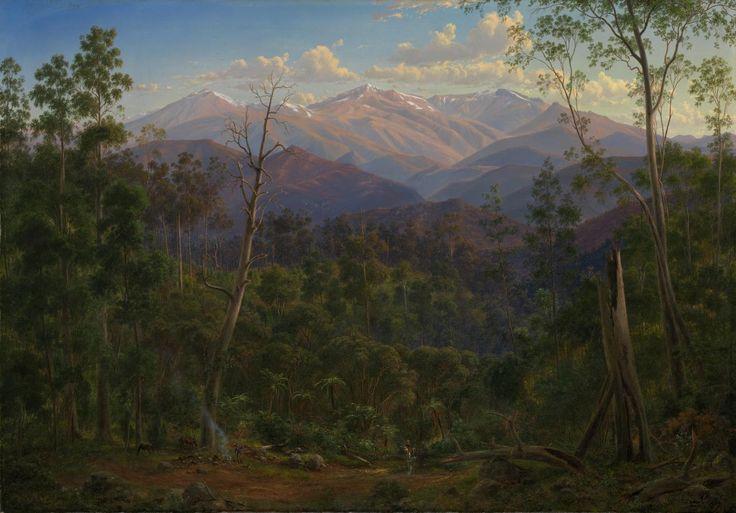 ~ Eugene von Guérard - Mount Kosciusko, seen from the Victorian border (Mount Hope Ranges), 1866