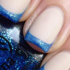 Matte glitter French manicure