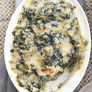 Spinach-Artichoke Dip // one of the BEST recipes!! //   One of our favorite easy dips for the day of the big game -- or any time! -- is this take on the classic spinach dip. It'll have your guests scraping the sides of the bowl.