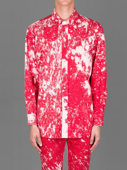RAF SIMONS X STERLING RUBY BLEACHED WIDE FIT WORKWEAR SHIRT