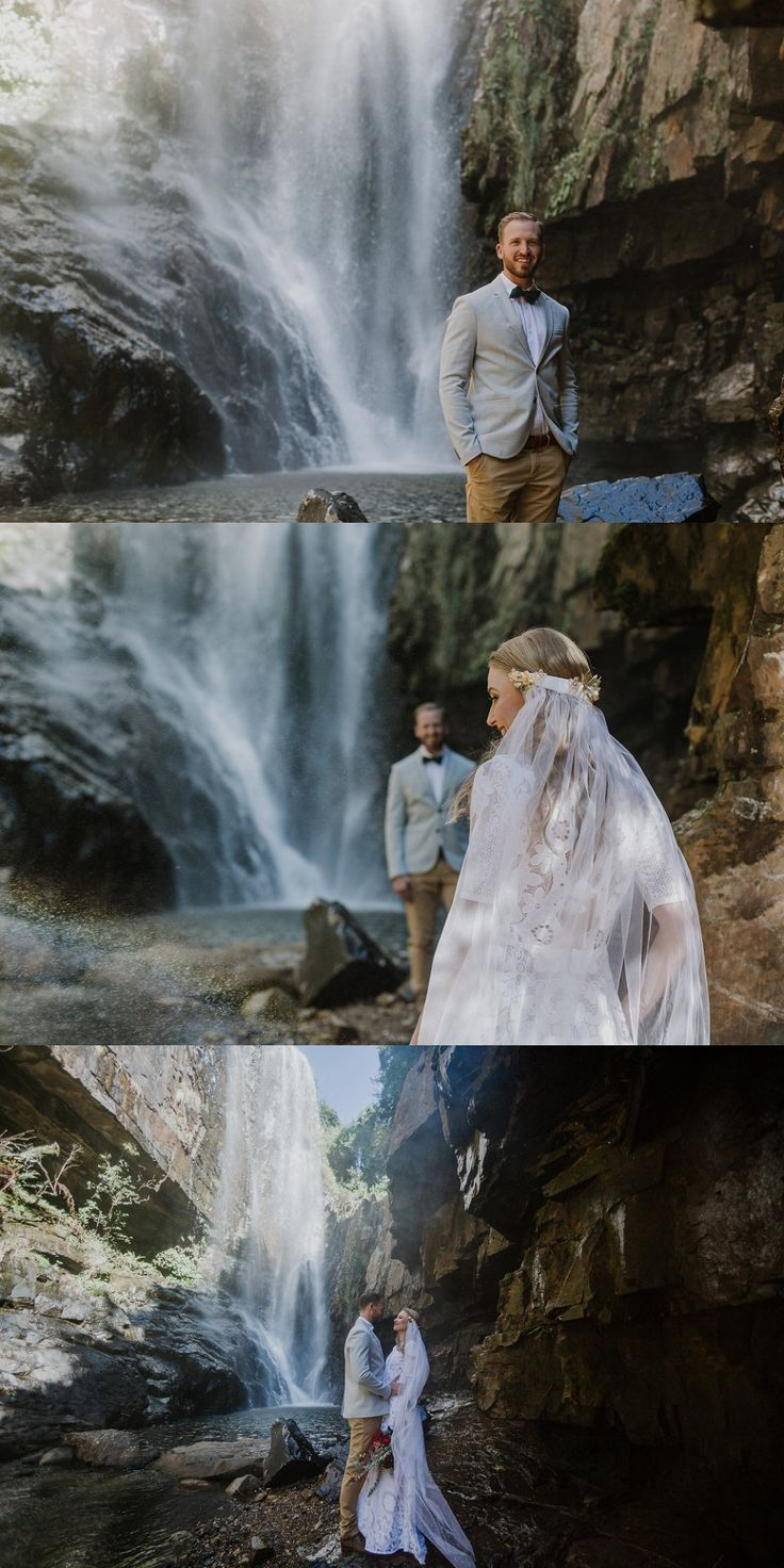 Half veil, stunning cosmos dress & vows in front of this beautiful waterfall for our Wild horses & Waterfall elopement
