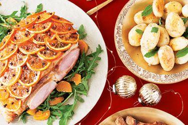 Orange and cumin glazed ham with fresh orange and rocket salad