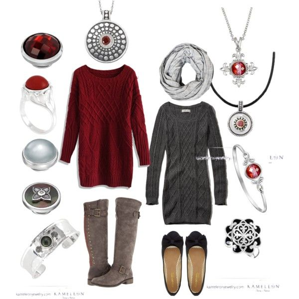 """""""Kameleon Jewelry + Sweater Dresses"""" by fragrant on Polyvore"""