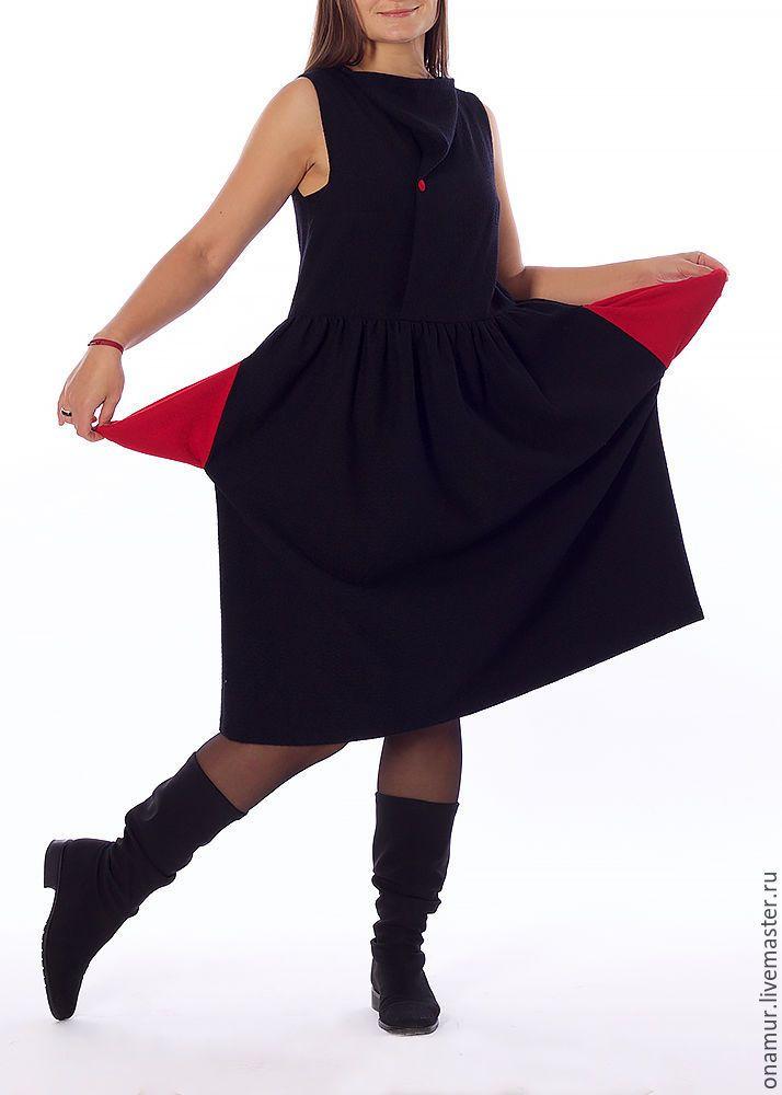 Купить шерстяное платье, платье-сарафан - черный, однотонный, шерстяное платье, платье-сарафан