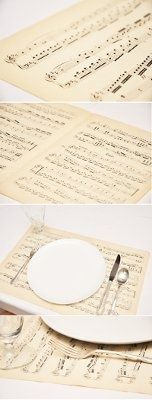 Music sheet music placemats for music themed weddings Keywords: #weddings…                                                                                                                                                     More