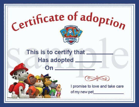 Paw Patrol Adoption Certificate printable Digital by BB8jony