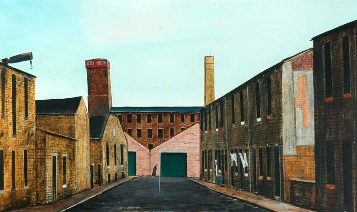 Peter Brook  - A Street With Washing #art #painting #Yorkshire