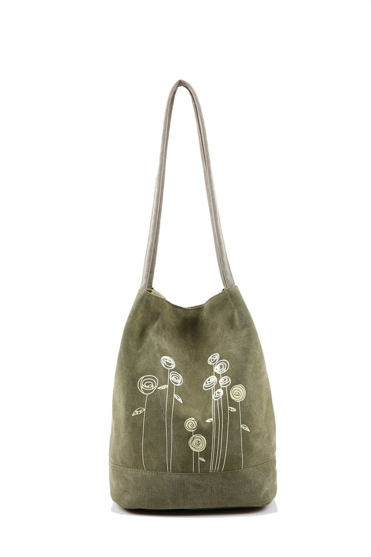 Spring New Women Handbags Bucket bag Women  Canvas Hand Bag open pocket Casual Floral Tote Bag shoulder bag 5 colors